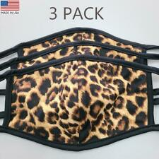 Cheetah Face Mask Washable Reusable Cotton Leopard 3-PACK Made In USA Sameday!