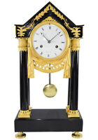 PORTIQUE MUGNIER. Kaminuhr Empire clock bronze horloge antique pendule uhren