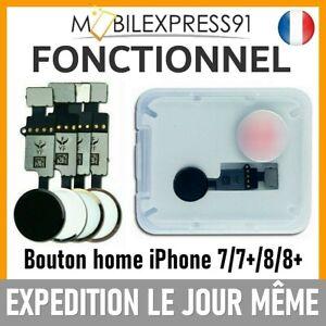NAPPE BOUTON HOME FONCTIONNEL UNIVERSEL POUR IPHONE 7|7+|8|PLUS NOIR OR ARGENT