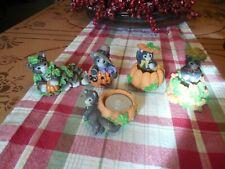 Enesco Lot Of Five (5) Autumn Halloween Calico Kittens Figurines