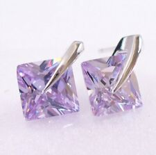 Men White Gold Plated Light Purple Cubic Zirconia 8mm Square Stud Earrings UKi