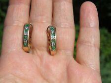 Solid 14K Yellow GOLD Natural EMERALD /DIAMOND J HOOP Omega Back EARRINGS 4.6gr