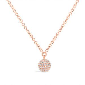 Diamond Pave Disco Ball Sphere Pendant 14K Rose Gold Necklace 0.18ct