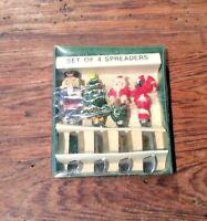 ARTMARK VTG 1996 SET OF 4 resin & STAINLESS STEEL CHRISTMAS SPREADERS 4 designs
