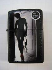 "ZIPPO ""SEXY SMOKE"" 218 (RED SHOE GIRL) WINDPROOF BLACK MATTE CHROME LIGHTER"