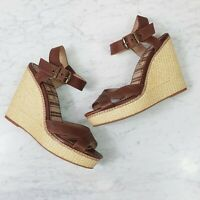 [ SPLENDID ] Womens Brown Wedge Leather Espadrilles Shoes  | Size 8.5