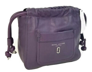 Marc Jacobs Tote Small Smooth Leather Tied Up Drawstring Bucket Handbag (Plum)