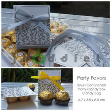 12 pcs Silver Continental Party Candy/Favor Box