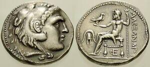025. Greek Silver Coin. ALEXANDER III, AR Tetradrachm. Herakles / Zeus. VF