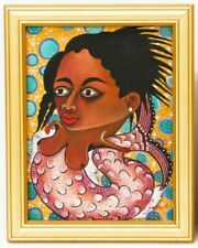 "ORIGINAL HAITIAN ART PAINTING BY ROGER FRANCOIS ""MERMAID"" FOLKART 10""x08"" HAITI"