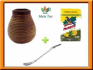 Mein Teeshop Mate Becher Keramik braun + Bombilla  + Pajarito Menta Limon