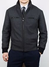 4850$ VERY RARE MENS BRIONI WOOL LEATHER DETAIL JACKET BOMBER COAT LUXURY SIZE M