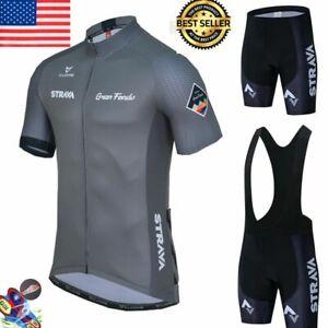 Team Men Summer Cycling Jersey Bike Short Sleeve Shirts Bib Shorts 1PCS Set