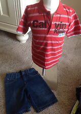 Calvin Klein Summer Boys Outfit Denim Shorts Shirt Polo Size 5 Euc (tc101)