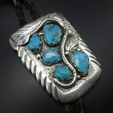 OLD Vintage ZUNI Heavy Hand-Stamped Sterling Silver TURQUOISE Snake Motif BOLO