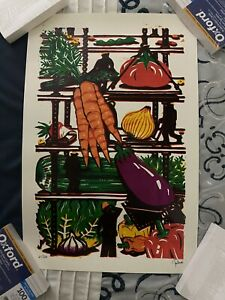 """VEGGIE CONSTRUCTION"" ART PRINT BY JIM POLLOCK /250 *IN HAND* *SHIPS FREE*"