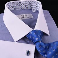 Solid Navy Blue Business Dress Shirt Formal White Collar & Cuff Contrast Floral