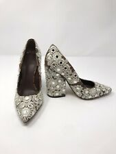 Tory Burch Francesca Pointy Toe Pump Snakeskin Embroidered - Size 5.5M - $595