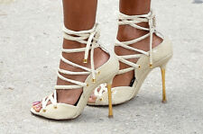 TOM FORD Cream Snake Skin Lace-Up Sandals SZ 38 = US 7.5 - 8 - Pre-owned