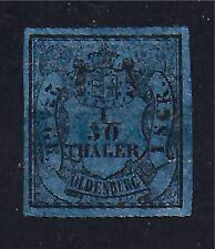 OLDENBURG STAMP #1--  1/30th BLACK ON BLUE -- 1852 -- USED
