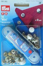 10 senza cuciture - PULSANTI COMANDO Mini 8 MM ARGENTO 390 360