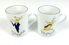 Pottery Barn Reindeer Coffee Mugs Set of 2 Dasher Prancer Retired Christmas Cup