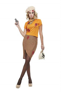 Bonnie Zombie Gangster Costume, Orange, Top, Skirt, Swag  (UK IMPORT) COST-W NEW
