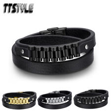 TTstyle Black Leather 316L Stainless Steel Chain Wristband 3 Colours NEW