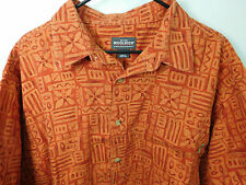 Woolrich S/S Button Front Shirt Men's 2XL Orange & Red Tribal Tiki Print