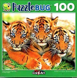 Three Sumatran Tiger Cubs - 100 Piece Jigsaw Puzzle