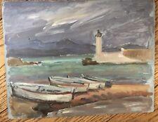 Tableau Peinture Huile Carton Phare Marine Bateau de Peut-être (André Vivrel.)