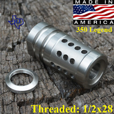 1/2x28 350 Legend FCX Precision Stainless Steel Muzzle Brake+Crush Washer Silver