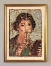 Pompeji Italien Dichterin Sappho Portrait Fresko Büttenfaksimile 5 im Goldrahmen