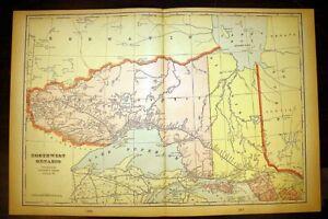 "Northwest Ontario Canada or City of Quebec Color Map 1901 Cram's 14½"" x 22"""