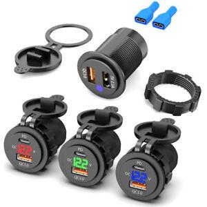 12V/24V Dual Ports USB Type C QC 3.0 Car Charger Socket Adapter LED Voltmeter