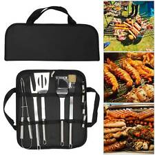 9PCS Portable BBQ Grill Cooking Utensils Barbeque Tools Set Stainless Steel UK