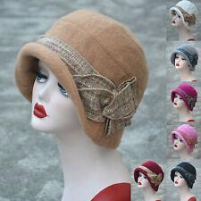 Womens 1920s Gatsby Style Downtown Abbey Wool Blend Cloche Bucket Cap Hat A374