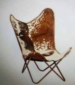 Leather Handmade Butterfly Chair Seat Folding Modern Stool Sling Loung Vintage