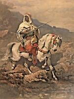 Antique Adolfe Schreyer Oil Painting of Arabian Knight on Stallion Wood Frame