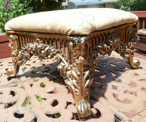 Ornate Cast Iron Frame Footstool Victorian Reproduction