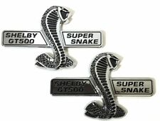 x2 Chrome / BLK Ford Mustang Shelby GT500 Super Snake Wing Grille Emblem / Decal