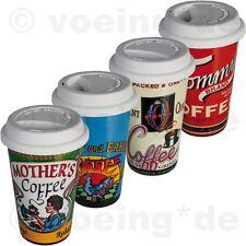 """Porzellan-Becher mit Silikondeckel Coffee to go """"Nostalgic Coffee Brand"""" 16x10cm"""