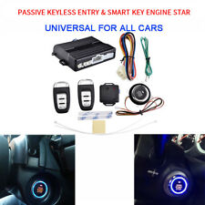 New Passive Keyless Entry Remote Engine Push Start Car Alarm System Set Kit