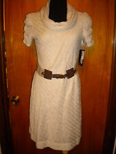 Signature by Robbie Bee Lt Tan Cowl Neck Crochet Sweater Dress P/M M NWT $89 New