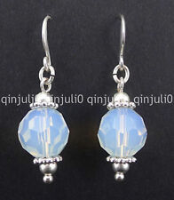 Fashion10mm Faceted Opal Opalite Beads Silver Hook Dangle Earrings JE127