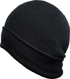 TAS 100% Pure Wool Black Beanie Warm,Snug,Comfortable
