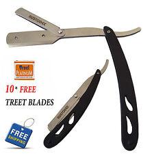 Austodex Folding Shaving Razor Straight Barber Edge Steel Razors 10 Pcs Blades Black