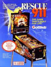 Gottlieb RESCUE 911 Original 1991 NOS Flipper Arcade Game Pinball Machine Flyer