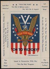 "Win The War Program - ""On to Victory"" - WWII Propaganda Sheet MNH"