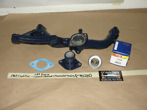 65 CADILLAC 429 A/C COOLANT CROSSOVER MANIFOLD THERMOSTAT HOUSING & THERMOSTAT